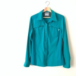 COLUMBIA Omni Shield Teal Button Down L